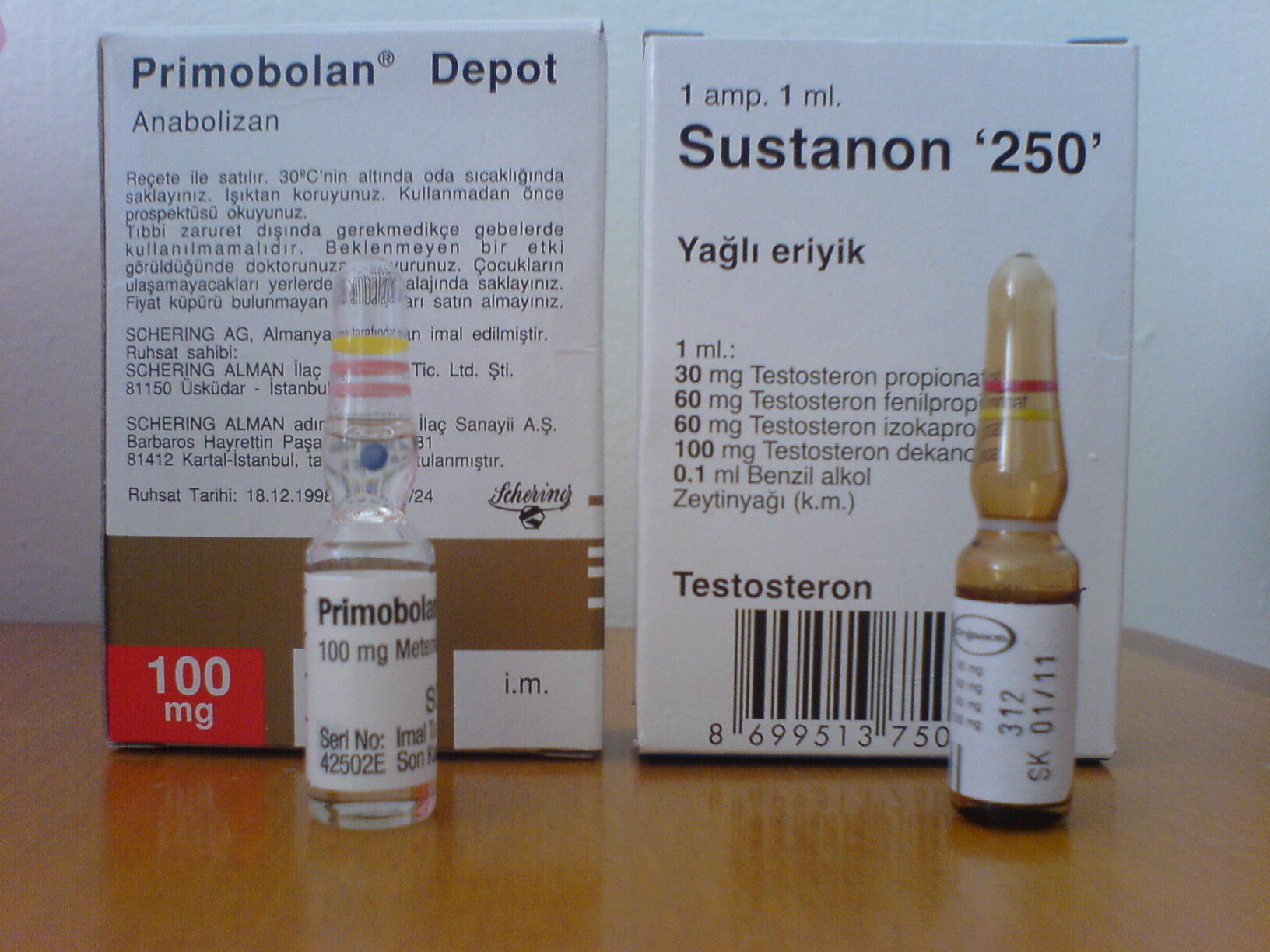 of real Sustanon and Primobolan . bought and tryed them in Turkey