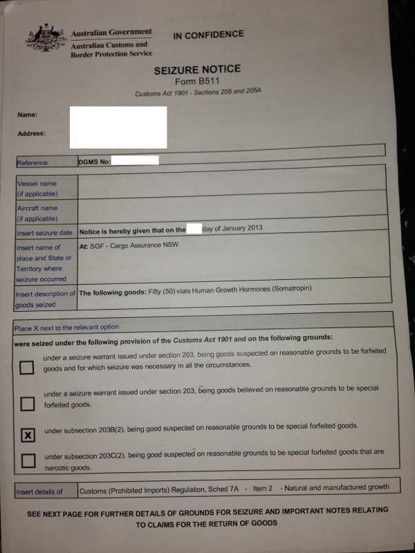 seizure letter from customs   but